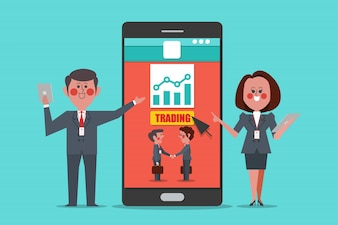 Trading professionelle Trainer, Konzept Design Cartoon Charakter flache Stil