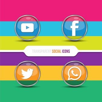 Transparente soziale Icon-Sammlung