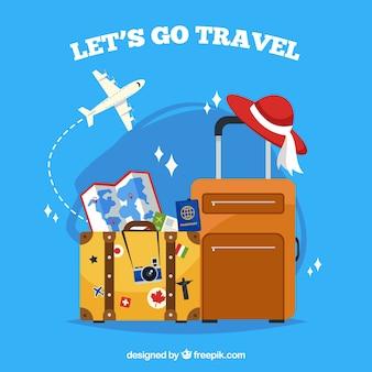 Traveller-Hintergrund mit flachem Design