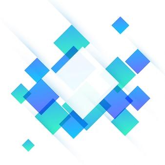 Trendy flache weiße, grüne und blaue Quadrate, abstrakter Hintergrund für Broschüre, Flyer oder Präsentationen Design.