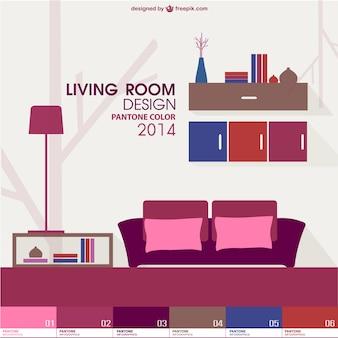 Trendy Wohnzimmer Pantone-Design