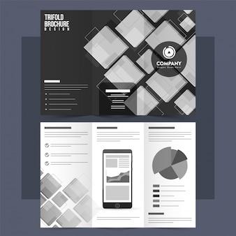 Tri-Fold-Merkblatt, Broschüre mit abstrakten Elementen.