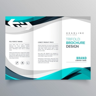 Trifold Broschüre Design mit schönen blauen und grauen Welle