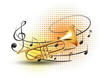 Trompete mit Noten im Hintergrund
