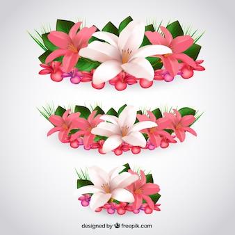Tropische Blumen im realistischen Stil