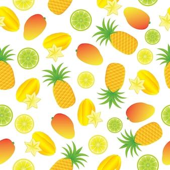 Tropische Fruti Muster Hintergrund