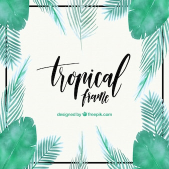 Tropischer Rahmen mit Blättern von Aquarellpalmen