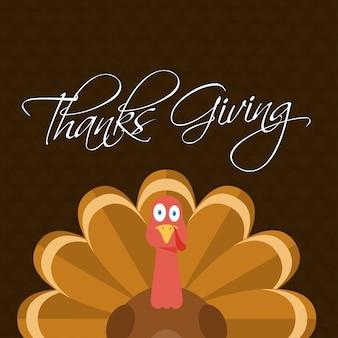 Typografie Happy Thanksgiving, Herbst Truthahn Vogel Hintergrund