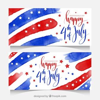 Unabhängigkeitstag Banner mit Aquarellformen