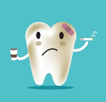 Ungesunder Zahn mit Kaffee und Rauch