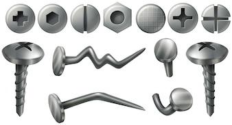 Unterschiedliches Design an Nagelköpfen