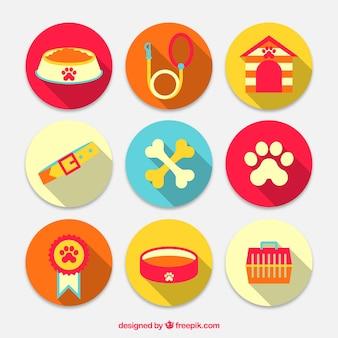 Urlaub mit Hund Elemente Icons Pack