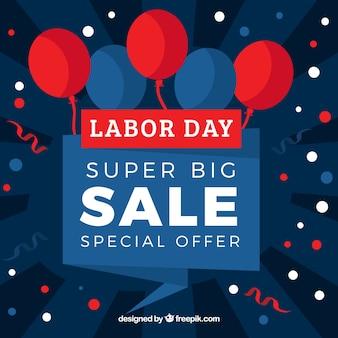 Usa Arbeitstag Verkauf Hintergrund mit Luftballons