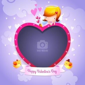 Valentinstag Happy Valentinstag Amor-Engel mit Herz-geformter Foto-Rahmen