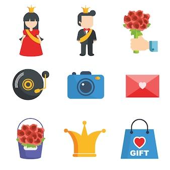 Valentinstag-Ikonen-Sammlung