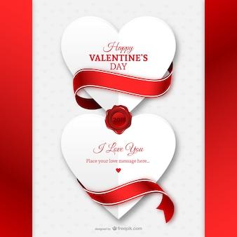 Valentinstag-Karte mit Papier Herzen