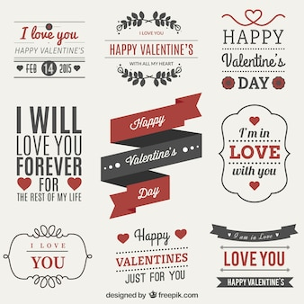 Valentinstag-Label-Set