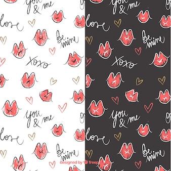 Valentinstag-Muster mit handgezeichneten Mund