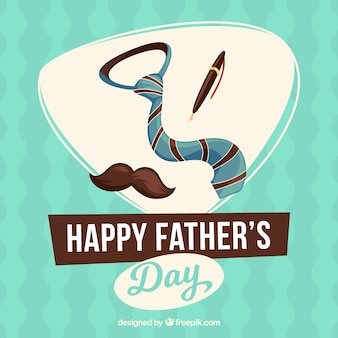 Vatertag Hintergrund mit Krawatte, Feder und Schnurrbart