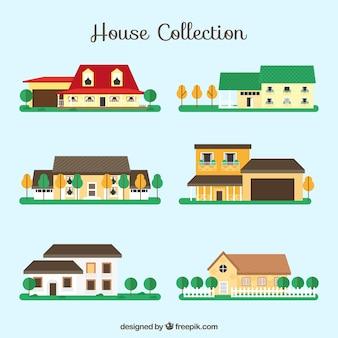 Vatiety von Häusern mit flachem Design