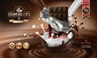 Vector 3D Spritzer von geschmolzener Schokolade und Milch mit fallenden Stücke von Schokoriegel.
