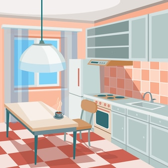 Vector Cartoon Illustration einer Küche Interieur