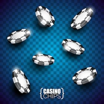 Vector Illustration auf einem Kasinothema mit der Farbe, die Chips und Poker-Karten auf dunklem Hintergrund spielt.