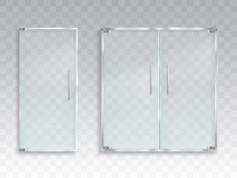Vector realistische Darstellung eines Layouts einer Eingang Glastür mit Metall Griffe