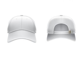 Vector realistische Darstellung eines weißen Textil-Baseball-Cap vorne und hinten