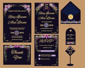 Vector Reihe von Einladung Karten Blumen Elemente und kalligraphischen Buchstaben. Hochzeitsammlung