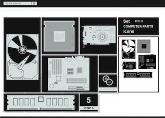 Vector Sammlung Symbole. Computer Hardware Icons.