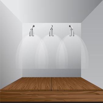 Vector weiße leere Innenhandelsausstellung Stand-Stand