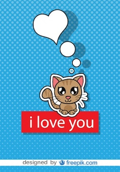 Vektor-Cartoon-Katze auf blauem Hintergrund mit weißen Punkten