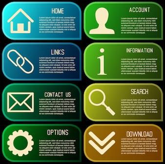 Vektor-Design-Vorlage für Web-Site mit Papieretiketten