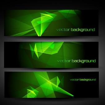 Vektor drei grüne abstrakte eps10 Banner gesetzt ein