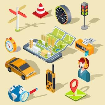 Vektor-Illustration des Konzepts der Verwendung der mobilen Anwendung der globalen Positionierung System.