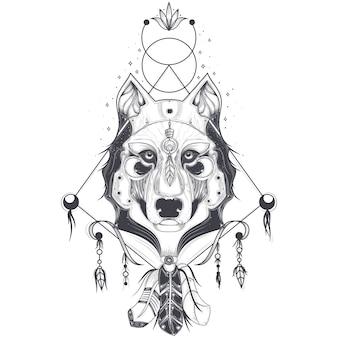 Vektor-Illustration einer Frontansicht eines Wolfskopfes, geometrische Skizze einer Tätowierung