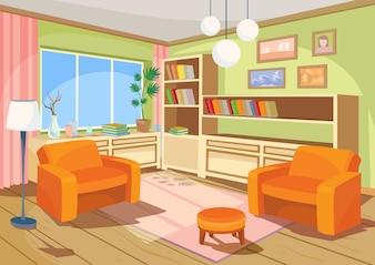 Vektor-Illustration eines Cartoon-Innenraum eines orangefarbenen Wohnraums, ein Wohnzimmer mit zwei weichen Sesseln