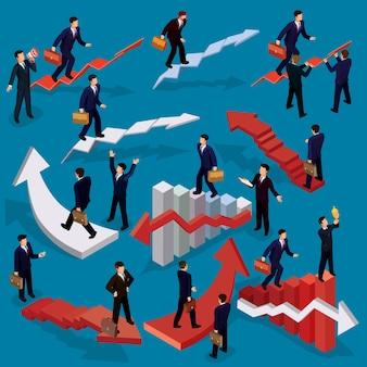 Vektor-Illustration von 3D flach isometrischen Menschen. Konzept des Geschäftswachstums, Karriereleiter, der Weg zum Erfolg.