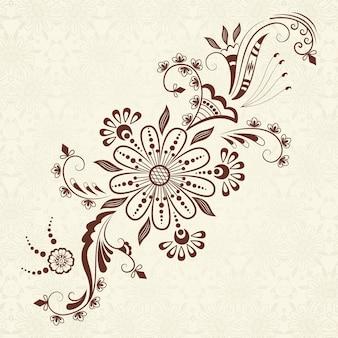 Vektor-Illustration von mehndi Ornament. Traditioneller indischer Stil, ornamentale florale Elemente für Henna Tattoo, Aufkleber, Mehndi und Yoga Design, Karten und Drucke. Abstract floral vector illustration.