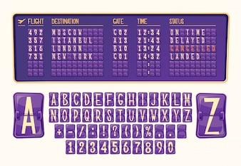 Vektor-Illustration Vorstand der Ankunft und Abfahrt am Flughafen mit verschiedenen Zahlen und Buchstaben im Cartoon-Stil.