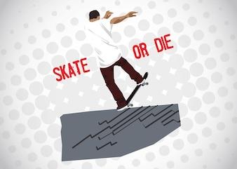 Vektor-Mann mit Skateboard