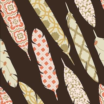Vektor nahtlose Muster mit Patch verzierten bunten Federn