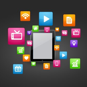 Vektor smart Tablette mit Social Media Icons