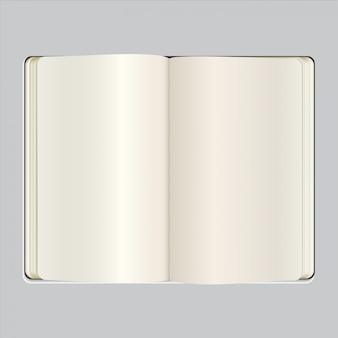 Vektorgeöffneter klar Notizbuch
