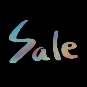 Verkauf Text mit schwarzem Hintergrund