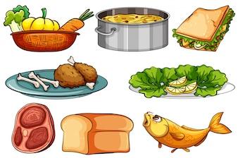 Verschiedene Arten von Essen und Snack Illustration