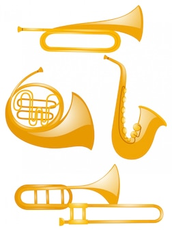 Verschiedene Arten von Musikinstrumenten