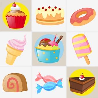 Verschiedene Arten von süßen Desserts