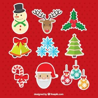 Verschiedene Aufkleber von Ornamenten und Weihnachts Zeichen